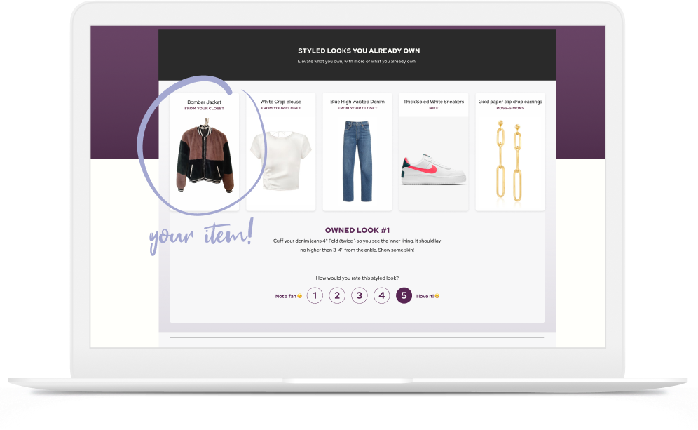 Preview of our styles page - You'll receive 6 curated looks from our stylists.
